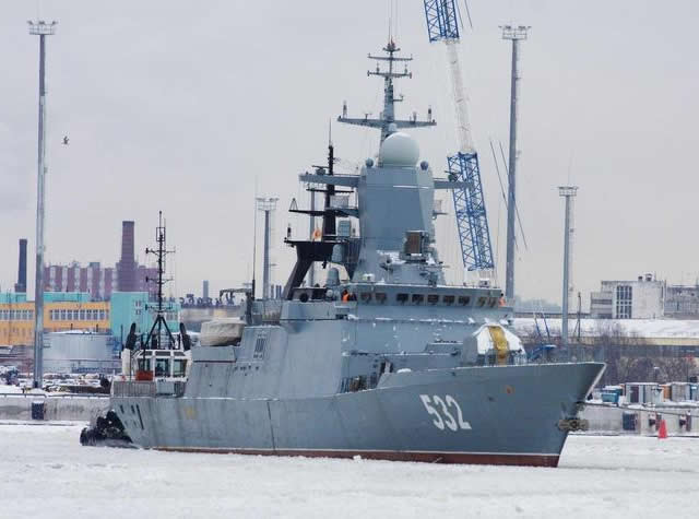 The third Russian Project 20380 Steregushchiy class corvette is undergoing sea trials in the Baltic Sea. There are four more weeks of testing planned for the Boiky. Testing includes maneuvering and speed trials and an evaluation of mechanical, weapon, navigation, and radar systems.