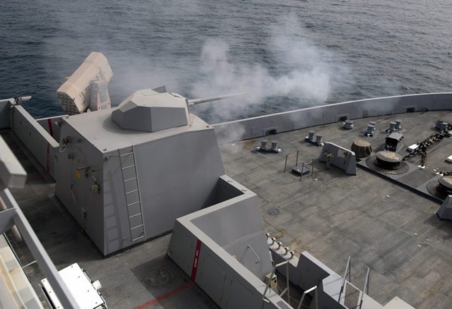 The MK 46 gun weapon system is a remotely operated naval gun system that uses a 30mm high velocity cannon, a forward looking infrared sensor, a low light television camera, and a laser rangefinder for shipboard self defense against small, high speed surface targets. The gun can be operated locally at the gun turret or remotely at the Remote Operating Console in the Combat Information Center (on San Antonio class) and in the Mission Control Center (on the LCS class).