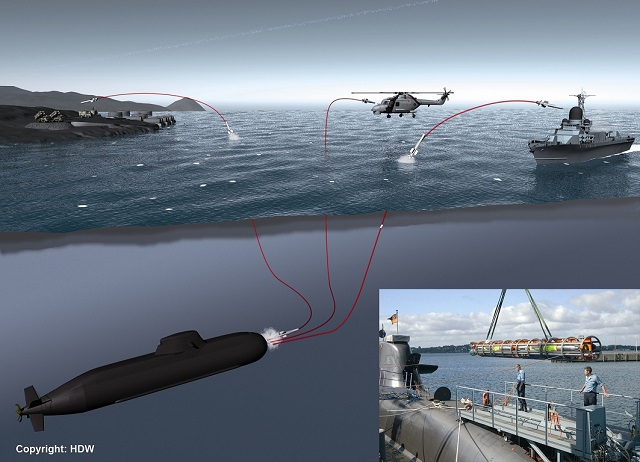 The Turkish company Roketsan and the German IDAS Consortium formed by ThyssenKrupp Marine Systems and Diehl BGT Defence signed a cooperation agreement to develop and supply the submarine-launched IDAS (= Interactive Defence and Attack System for Submarines) missile. The accord was inked at the IDEF Trade Show in Istanbul on May 9, 2013. The signature ceremony took place in the presence of Thomas Kossendey, member of the German Parliament and parliamentarian secretary to the federal minister of defence and the German Armament Director Detlef Selhausen.