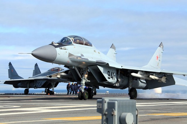 "The Russian navy has taken delivery of its first four series-produced MiG-29K/KUB carrier based fighter jets, the Defense Ministry said Monday. ""The MiG aircraft-manufacturing corporation has handed over two MiG-29K single-seat and two MiG-29KUB twin-seat carrier-based fighter aircraft,"" a spokesman said."