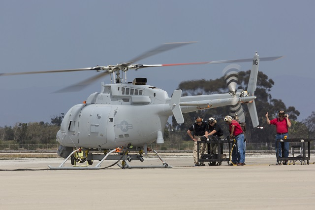 Northrop Grumman Corporation turned on the power to the U.S. Navy's first MQ-8C Fire Scout unmanned helicopter and rotated the aircraft's four blades for the first time during initial ground testing and engine runs at Naval Base Ventura County Point Mugu, Calif., Sept. 20.