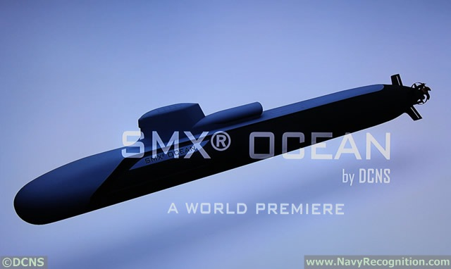 Navy Recognition learned that DCNS will introduce a new submarine concept at Euronaval 2014 which be held from October 27th to 31st at Paris Le Bourget in France. The SMX OCEAN is based on a Barracuda hull, the next generation SSN of the French Navy, fitted with a conventional propulsion system (SSK) with AIP technology.