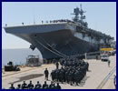 The U.S. Navy officially accepted delivery of the amphibious assault ship America (LHA 6) from Huntington Ingalls Industries during a ship custody transfer ceremony in Pascagoula, Miss., April 10. More than 900 Sailors and Marines assigned to Pre-Commissioning Unit (PCU) America marched to the ship to take custody on the flight deck.