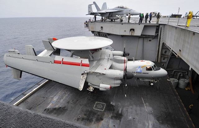 The aircraft carrier USS Theodore Roosevelt (CVN 71) launched and recovered E-2D Hawkeyes, from the Tiger Tails of Carrier Airborne Early Warning Squadron (VAW) 125, for the first time, Dec. 3.