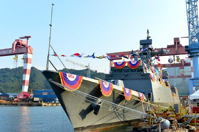 The fourth Incheon class FFG (Guided Missile Frigate), 'Gangwon Ham', to protect South Korea territorial waters, was launched at a shipyard of STX Offshore & Shipbuilding in Changwon, Gyeongsangnam-do on August 12. The launch ceremony was attended by Gangwon Province Governor Choi Mun-sun as the guest of honor, Vice Admiral Eom Hyun-sung, the vice chief of naval operations, navy sailors, the CEO of STX Offshore & Shipbuilding Jung Sung-leep and other shipyard-related officials.