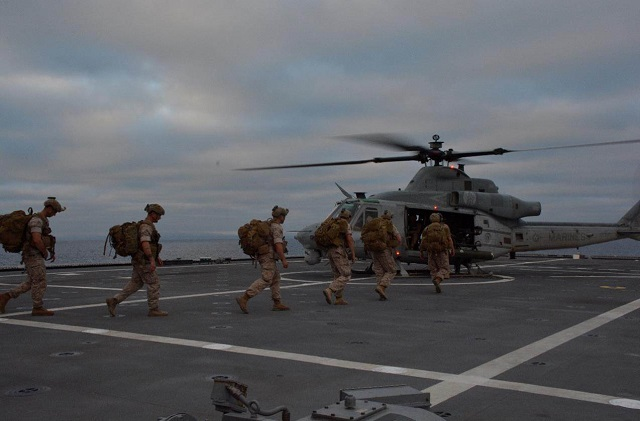 Last week Littoral Combat Ship USS Coronado (LCS 4) demonstrated the ability to rapidly stage and deploy a U.S. Marine Corps (USMC) ground unit. Marine Light Attack Helicopter Squadrons 469 and 303 conducted day and night deck-landing qualifications in preparation for an airborne raid of Marines from the 1st Reconnaissance Battalion onboard USS Coronado.