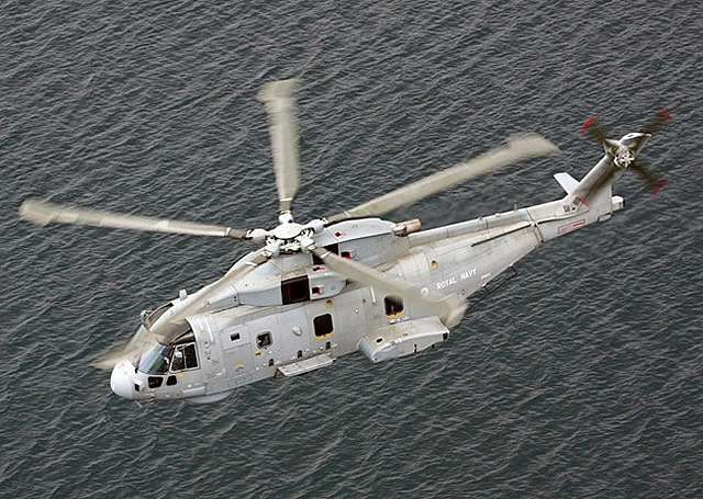 The AgustaWestland Merlin HM1 is the anti-submarine warfare helicopter of the Royal Navy