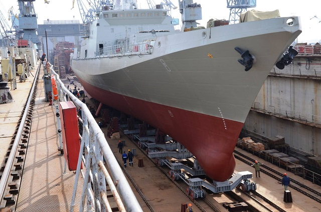 The Yantar shipyard in Russia's Baltic exclave of Kaliningrad on Friday floated out the first in a series of six Project 11356 frigates being built for the Black Sea Fleet, the company said.
