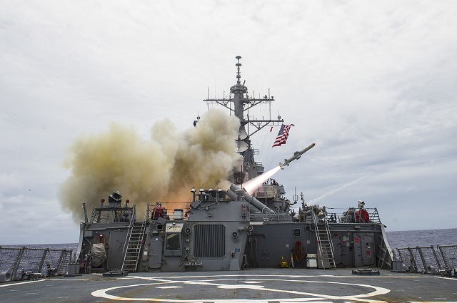The U.S Navy successfully fired multiple Harpoon missiles as part of the joint military exercise, Valiant Shield, demonstrating its effectiveness against modern day threats. A total of six Harpoon missiles, launched from F/A-18 and P-3 aircrafts and two surface ships, USS Stethem (DDG 63) and USS Shiloh (CG 67), detected, tracked and engaged their intended targets, during live fire events, Sept. 15.