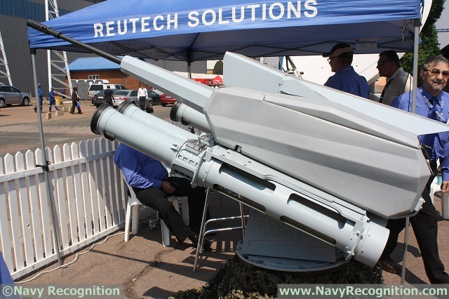 At AAD 2014 (Africa Aerospace and Defence Exhibition which takes places from the 17 )to 21 September at air force base waterkloof near Pretoria, in South Africa) South African company Reutech Solutions unveils the Super Rogue 3 20mm naval remote weapon station (RWS).
