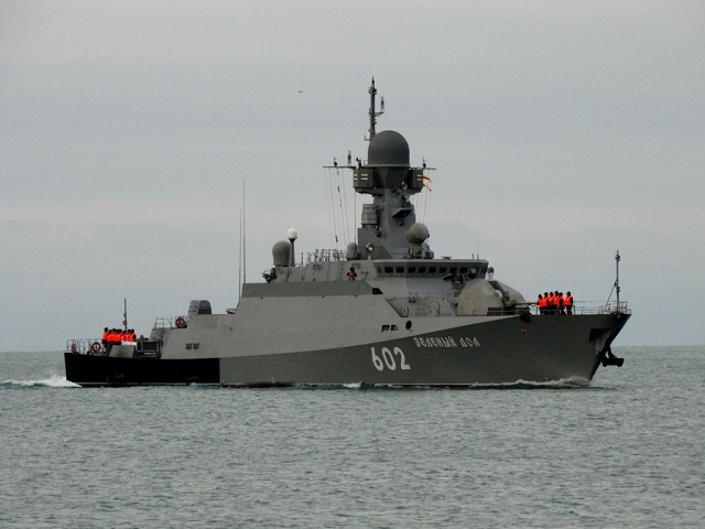 The Russian Black Sea Fleet's Project 21631 Buyan-M class small missile ships Serpukhov and Zelyony Dol armed with Kalibr (NATO reporting name: SS-N-27 Sizzler) cruise missiles will join the Navy's permanent grouping in the Mediterranean Sea, fleet spokesman Nikolai Voskresensky said.