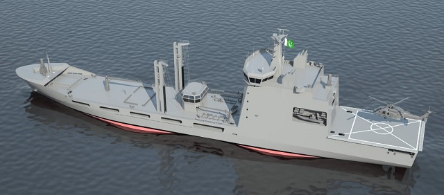 The Fleet Tanker (displacement of 15.600 tones, approximately length of 155 m, speed of 20 kts and with a replenishment-at-sea system (RAS / FAS) and a helicopter landing / take-off capability) will be completed in four years. The respective design activities have been performed in Turkey and shipbuilding and outfitting activities have been carried out by KS & EW in Pakistan with the kit of material transferred from Turkey.