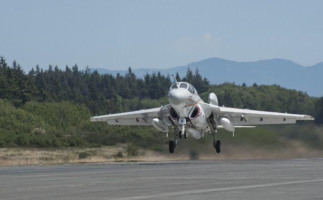The U.S. Navy's last operational EA-6B Prowler, designed and built by Northrop Grumman, lifts off from Naval Air Station Whidbey Island, Wash. in a ceremonial fly-away June 27 from its long time operational base. The Navy is retiring the Prowler after nearly 45 years of service. Photo by Edgar Mills, Northrop Grumman