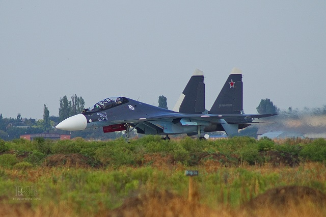 Su-30SM of the Russian Navy Black Sea Fleet 43rd Independent Naval Shturmovik (Assault) Air Squadron in Crimea