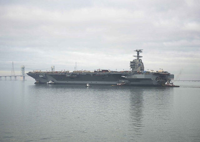 The U.S. Navy announced that the delivery of Gerald R. Ford (CVN 78), first ship of the new Ford class of aircraft carriers, will be delayed six to eight weeks as more tests are needed before the vessel can start its sea trials campaign. The original delivery date was set for March 31, 2016.