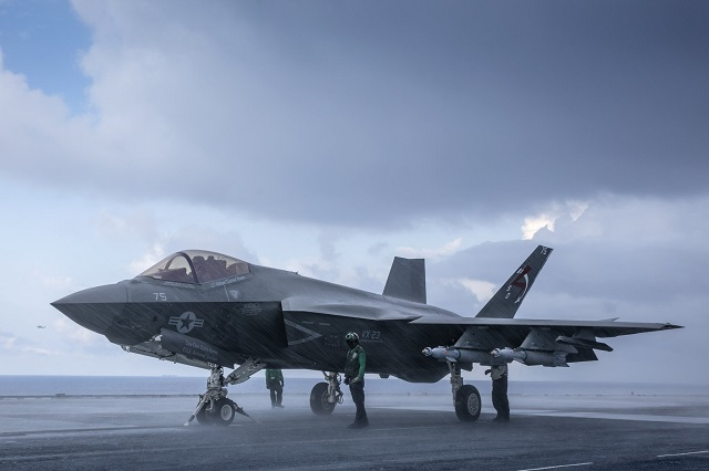 The jet blast from seven F-35C Lightning II Joint Strike Fighter aircraft only added to the already intense summer heat and humidity on the flight deck of USS George Washington (CVN 73), Aug. 15, where the third and final round of at-sea developmental testing, or DT-III, was underway about 100 miles offshore from Virginia.