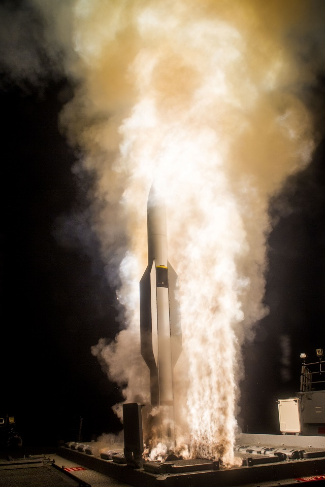 File picture: The Missile Defense Agency and sailors aboard USS John Paul Jones (DDG 53), an Aegis baseline 9.C1 equipped destroyer, successfully fired a salvo of two SM-6 Dual I missiles against a complex medium-range ballistic missile target, demonstrating the Sea Based Terminal endo-atmospheric defensive capability and meeting the test's primary objective.