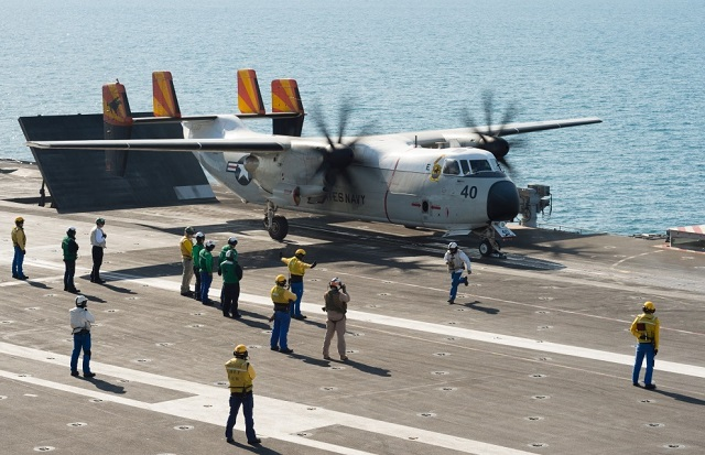 The C-2A Greyhound carrier about to be launched from aircraft carrier Charles de Gaulle