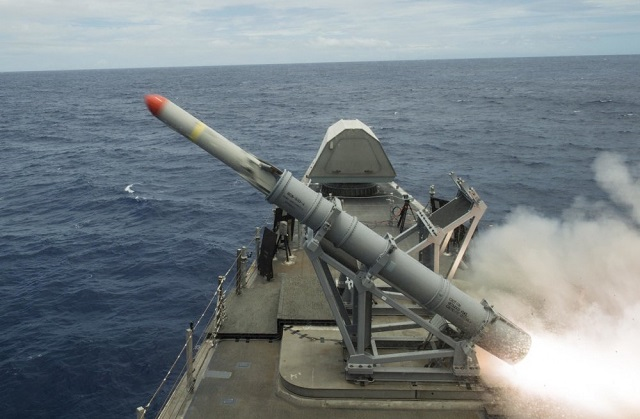 USS Coronado (LCS 4), an Independence-class littoral combat ship, launched an Harpoon Block 1C anti-ship missile during RIMPAC 2016, the world's largest international maritime exercise current taking place off Hawai.