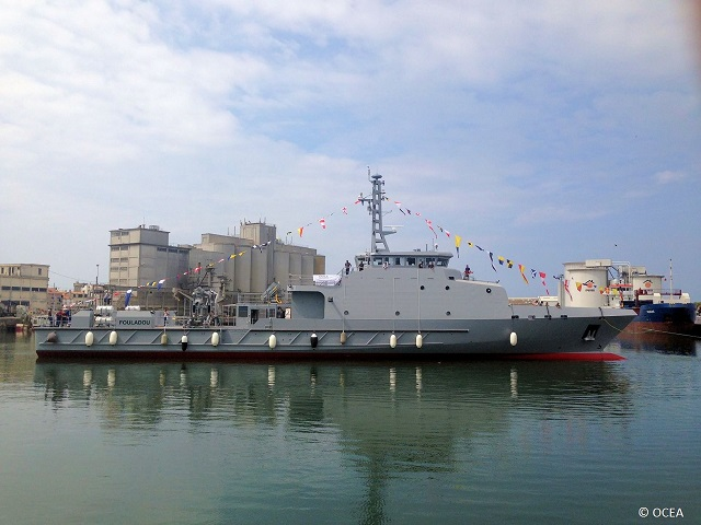 French Shipyard OCEA launched a new type of Offshore Patrol Vessel (OPV), the OPV 190 MKII, for the navy of Senegal on July 21st, 2016 in Sables d'Olonne (Western France). For over 30 years, OCEA is specialized in the design, construction, marketing and support of aluminum vessels up to 85 meters.