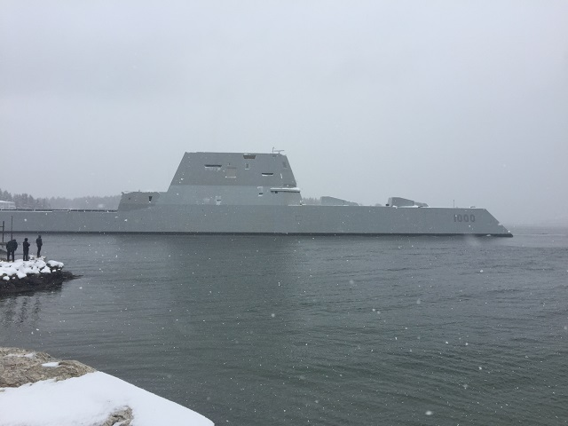 The future guided-missile destroyer USS Zumwalt (DDG 1000) departed the Bath Iron Works shipyard on March 21st for its second at-sea period to conduct builder's trials during which many of the ship's key systems and technologies will be demonstrated.