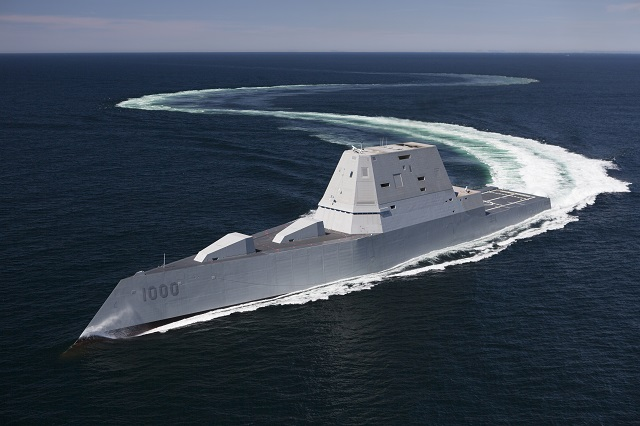 The U.S. Navy's newest and most technologically advanced warship, USS Zumwalt (DDG 1000) was commissioned into active service Saturday, Oct. 15, at North Locust Point in Baltimore. Zumwalt, the lead ship of a class of next-generation multi-mission destroyers, features a state-of-the-art electric propulsion system, wave-piercing tumblehome hull, stealth design, and the latest warfighting technology and weaponry available.