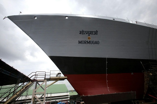 Another significant milestone in the annals of the Indigenous Warship design and construction programme of India was achieved with the launch of Guided Missile Destroyer, Mormugao, second ship of Project 15B, on 17 Sep 16, at Mazagaon Dock Ship Builders Limited (MDL), Mumbai. With a launch weight of 2844 tonnes, the vessel made its first contact with water at 11:58 AM with full fanfare during the launching ceremony graced by Chief of the Naval Staff, Admiral Sunil Lanba as the Chief Guest.