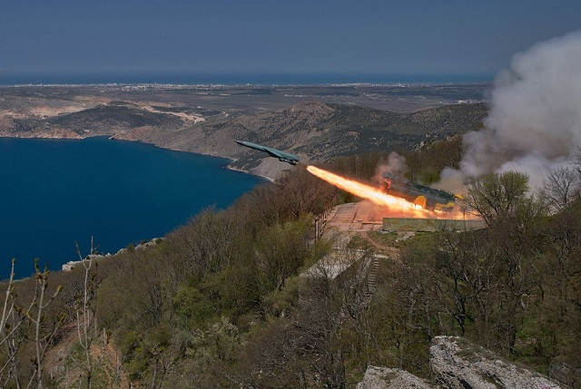 Russia Black Sea Fleet 4K44 Utyos coastal missile crew fires live weapon on practice target