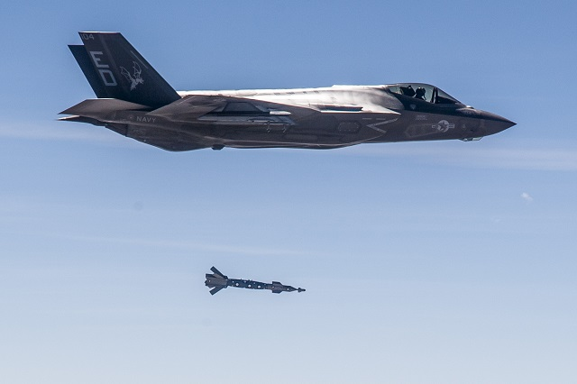 F-35C targeting system guides GBU-12 Paveway II Guided Bomb to moving target