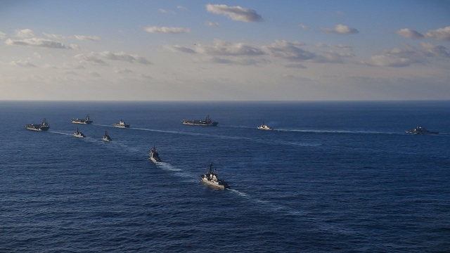 Three US Navy Carrier Strike Groups Transiting Western Pacific JMSDF Ships 3
