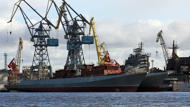 Yantar Shipyard Launched Two Project 11356 Frigates in Kaliningrad