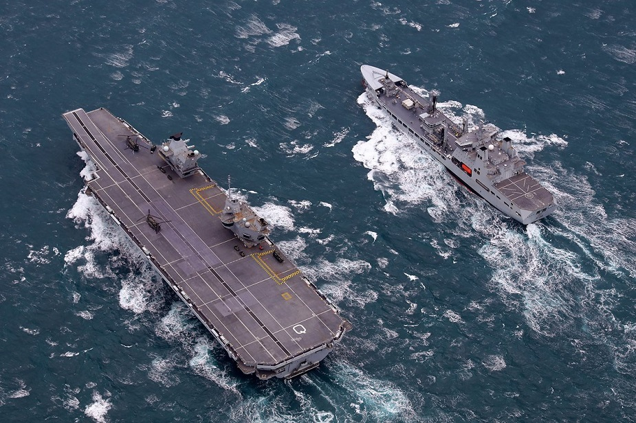 HMS Queen Elizabeth and RFA Tidespring meet up at sea 1st time