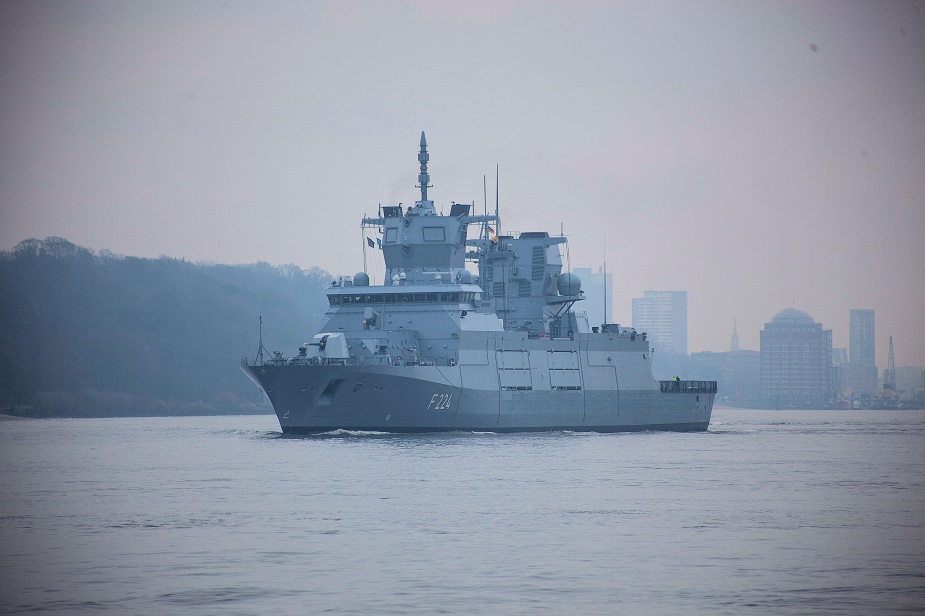 "The third 125 class frigate, the ""Sachsen-Anhalt"", goes out to see for the first time. On 22 February 2018, the ship left the shipyard in Hamburg for the scheduled in-port trials. TKMS picture."