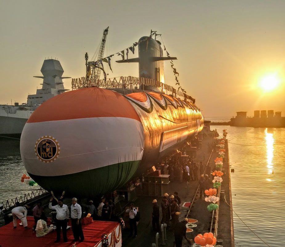 Indias Third Scorpene Submarine Karanj Launched at MDL Shipyard 1