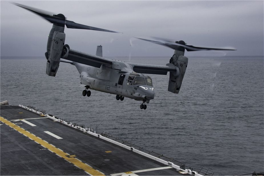 US Navy Amphibious assault ship USS Essex LHD 2 conducts flight operations with MV 22 aircraft 925 001