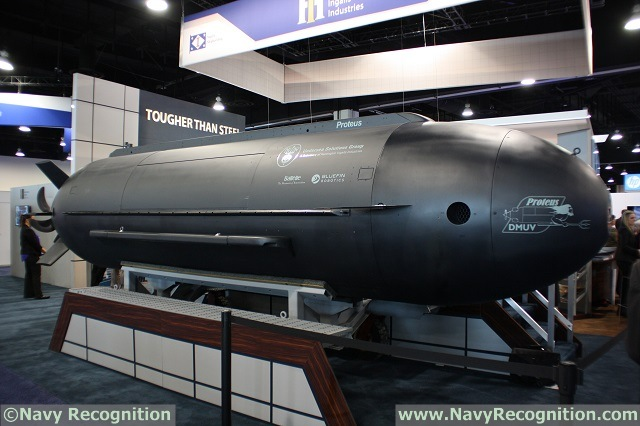 The Proteus on HII Booth at Sea Air Space 2015. Proteus is capable of operating as either a fully autonomous UUV, or as a wet manned submarine utilizing six diver's air stations to accommodate a team of operators. Proteus can also be fitted with an optional air module in the center cargo space, capable of supporting all six divers for a period exceeding 10 hours.