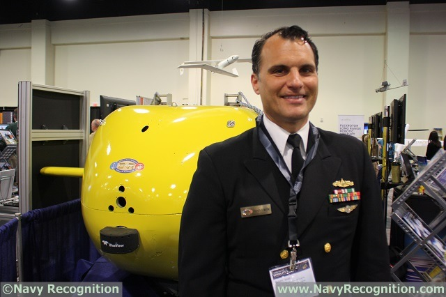 For the first time ever, the Large Displacement Unmanned Undersea Vehicle-Innovative Naval Prototype (LDUUV-INP) is on display to the public during the Sea-Air-Space Exposition, at the Office of Naval Research (ONR) booth.