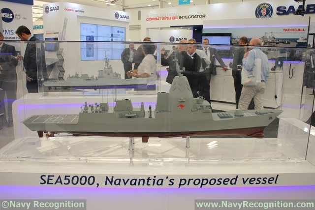 "Navantia of Spain was the only one who showcased an actual scale model of its SEA5000 proposal. The vessel relies heavily on the Hobart class AWD design already selected by the RAN. A Navantia official explained there is ""up to 70% commonality between the two platforms from a production stand point"". The vessel would be fitted with 48x MK41 VLS cells, a SAAB combat management system and 2 helicopter hangars."