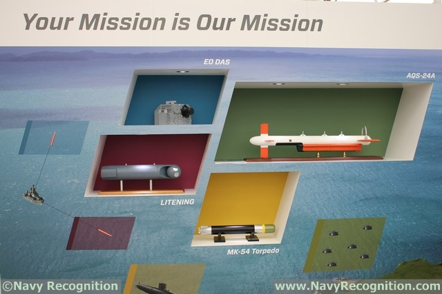 Northrop Grumman's capability in unmanned mine detection, classification and identification is highlighted at the show. The AQS-24B high-speed synthetic aperture sonar based mine-hunting system is towed from unmanned surface vessels as well as the MH-53E and MCH-101 helicopters. The AQS-24B and its predecessor systems, AQS-24A and the AQS-14, are the only operational high speed mine-hunting search systems used by the U.S. Navy for the past 31 years. The Airborne Laser Mine Detection System is a laser-based, light detection and ranging sensor system that detects, classifies and localizes near-surface mine-like objects from above the waterline and is complementary to the AQS-24B.