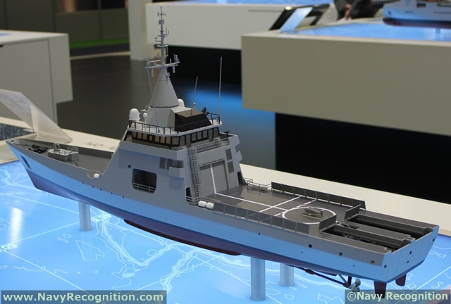 At Euronaval 2012, DCNS displayed for the first time an export version of its FREMM Multi-mission Frigate with various weapons never seen before on this class of ship. The French Shipyard also showcased its range of Gowind Corvette and OPV.