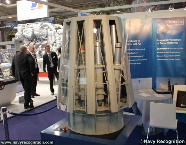 At Euronaval 2014, which is held in Paris from 27 to 31st October, British company Cheming Countermeasures presents the CENTURION naval multi-barrel platform protection system. The CENTURION system has 12 barrels that are stored vertically on a rotating platform with each barrel individually controlled in elevation. This innovative design delivers a lightweight, highly versatile solution that makes it the ideal multi-role launcher for today and the future.