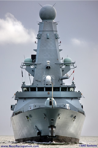 Designed by BAE Systems, the Type 45 is an Anti-Air Warfare Destroyer conceived to protect UK and allied/coalition forces at sea and in the littoral against the full range of enemy aircraft and anti-ship missiles. In addition she has a wide suite of capabilities including Maritime Force Projection through Naval Fire Support and Littoral Manoeuvre.The Type 45 represents a quantam leap in surface warfare design and capability reflecting innovation, foresight and an eye to the future in virtually every aspect. High speed, extended endurance and aggressive capability combine to provide robust, versatile and economic maritime effect.
