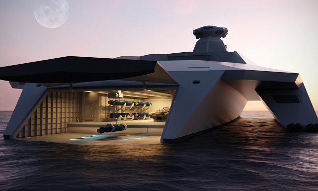 At DSEI 2015, a series of futuristic concept images on what a new surface ship for the Royal Navy could look like in 2050 has been released by a group of leading British naval electronic systems companies, working alongside Defence Equipment & Support (DE&S – part of the MOD) and the Defence Science and Technology Laboratory (DSTL – part of the MOD).